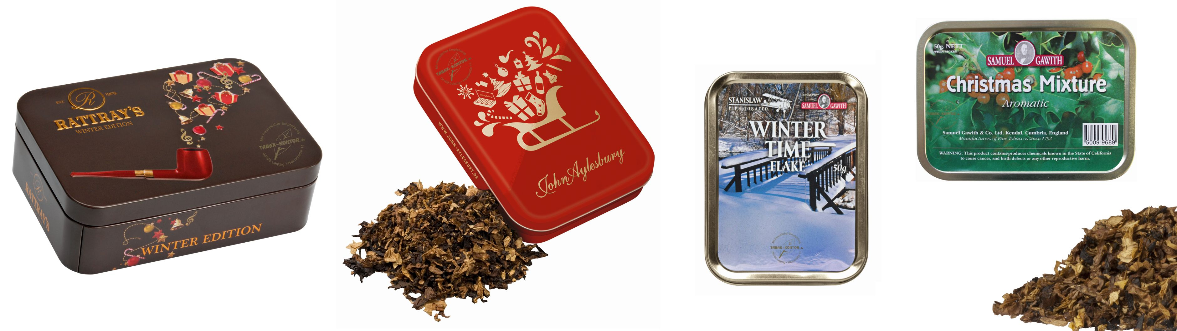 Rattray's Winter Edition 2014 | John Aylesbury Wintertabak 2014/2015 | Samuel Gawith Winter Time Flake | Samuel Gawith Christmas Mixture